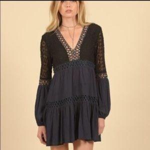 VINTAGE HAVANA Crochet Blue Black Dress Small NWT